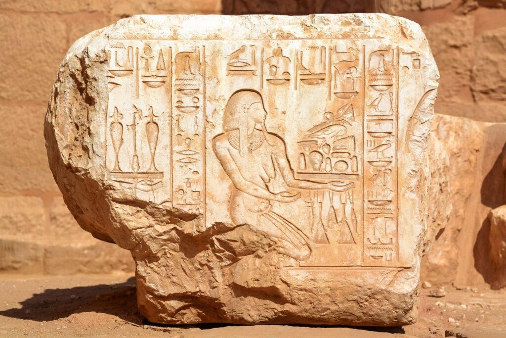 hieroglyphs in stone